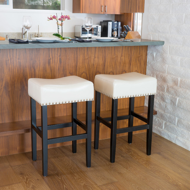 Christopher Knight Home Lisette Backless Leather Bar Stool (Set of 2) - Contemporary - Bar ...