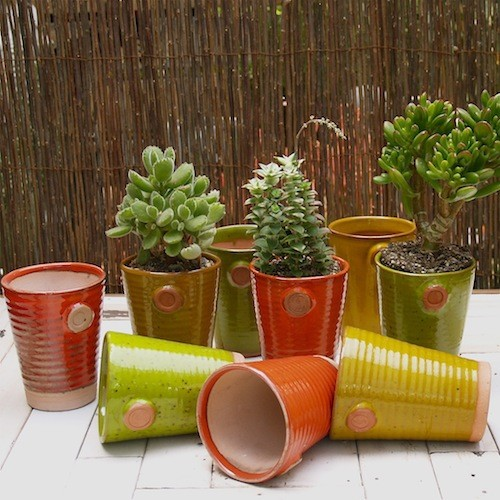 Lieberman Pottery Glazed Ceramic Pots eclectic outdoor planters