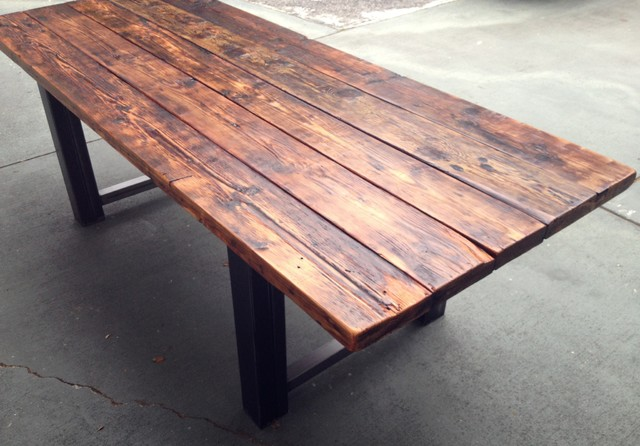 Reclaimed Wood And Metal Dining Table Modern Other Metro By The