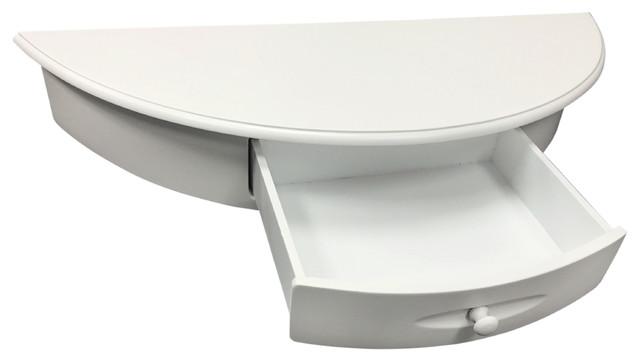 Welland normandy half moon shelf wall mount cabinet espresso white transitional display