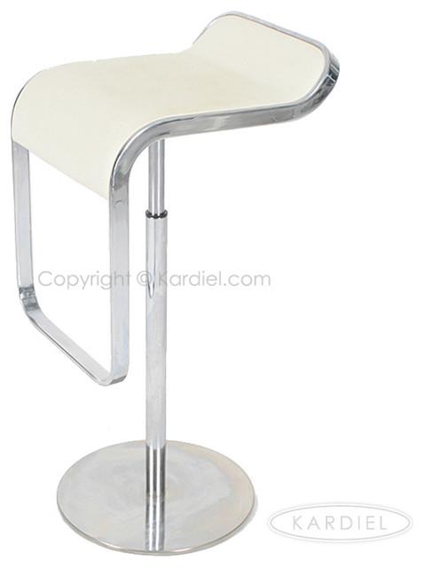 Kardiel Lem Piston Barstool White Italian Leather