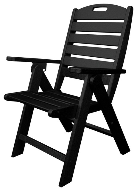 Nautical High Back Folding Chair All Weather Outdoor Recycled Plastic Furnitu