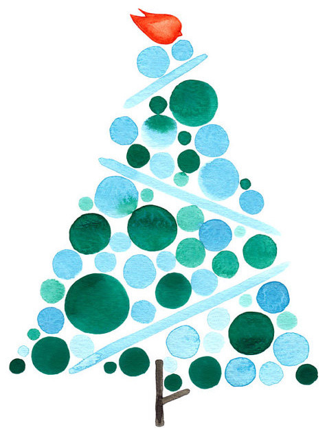 Tiffany Blue Christmas Tree Art Print by Once Upon a Paper contemporary-christmas-decorations
