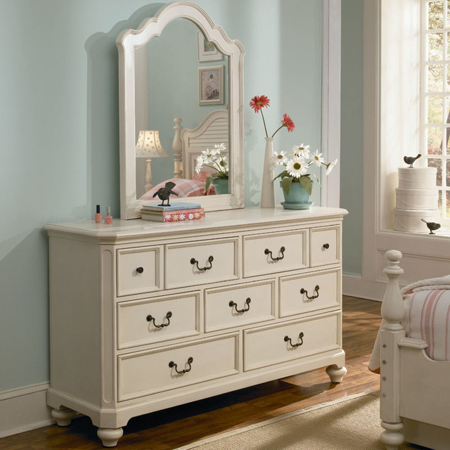 Retreat in antique white 7 drawer dresser modern by rosenberry rooms Antique bedroom dressers and chests