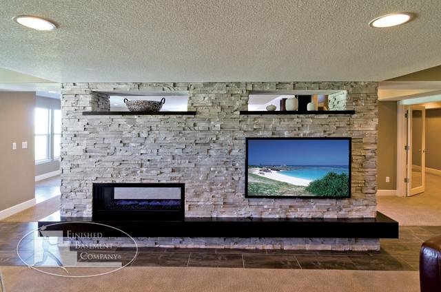 modern basement tv wall fireplace modern living room denver