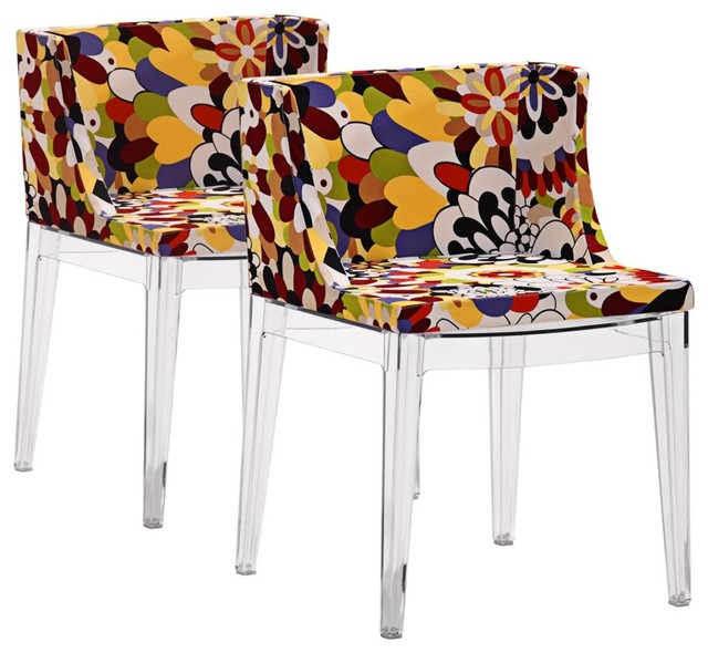 Colorful Dining Chair: Set Of 2 Zuo Pizzaro Multi-Color Floral Dining Chairs