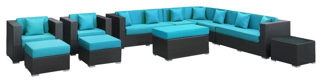 Advance Outdoor Wicker Patio 11 Piece Sectional Sofa Set in Espresso modern-outdoor-sofas