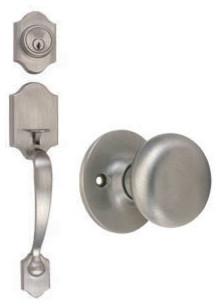 Sussex 2-Way Latch Entry Door Handle Set with Knob, Handle and Keyway modern-door-hardware