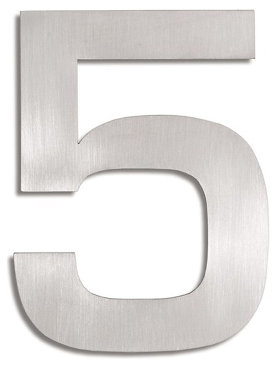 Blomus - Signo Stainless Steel House Number - 5 - Let everyone know where your house is with these stainless steel address markers. Easy to mount with simple instructions included. Brushed matte finish.