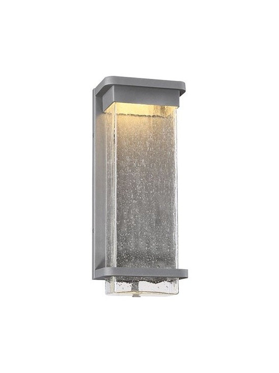 WAC Modern Forms - WAC Modern Forms | Vitrine 16 Inch LED Outdoor Wall Light - Design by Modern Forms.The Vitrine 16 Inch LED Outdoor Wall Light is reminiscent of raindrops falling gently on a window pane. This stunning effect is the result of concealed LEDs illuminating from above while casting a warm beam through clear hammered seeded, mouth blown optic glass. The durable body and minimalist design complement a multiplicity of architectural styles. Available in bronze or graphite finishes.