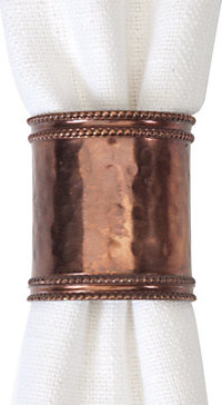 Hammered Copper Napkin Rings - Set of 4 modern napkin rings