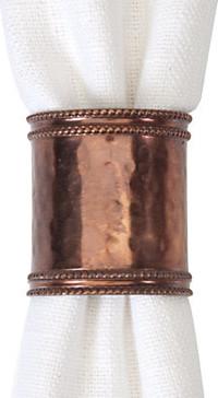 Hammered Copper Napkin Rings - Set of 4 modern-napkin-rings