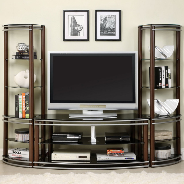 Furniture of America Khanhshey Tempered Glass Pier Tower Shelf 52-inch Media Cen - Contemporary ...