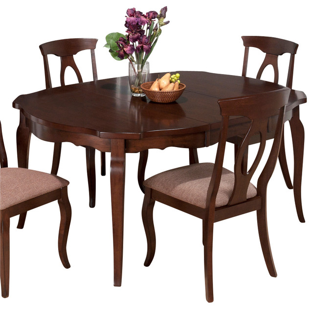 Jofran corsica round butterfly leaf dining table in cherry traditional dining tables by - Round kitchen table with butterfly leaf ...