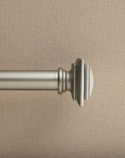 Westbury Pewter Adjustable Curtain Rod traditional-curtain-rods