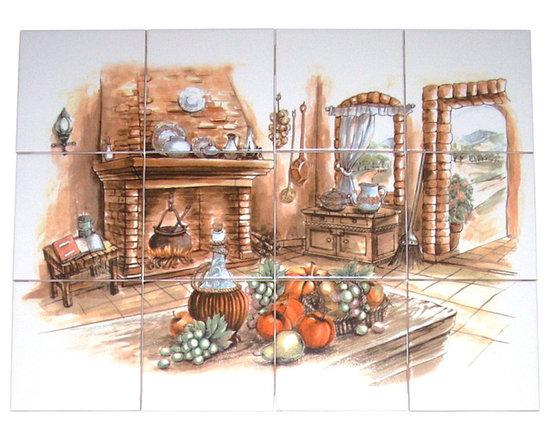 """Mottles Murals Ceramic Tiles - Antique Hearth Kitchen Ceramic Tile Mural 12pcs 4.25"""" Kiln Fired Back Splash - Antique Hearth Kitchen Ceramic Tile Mural"""