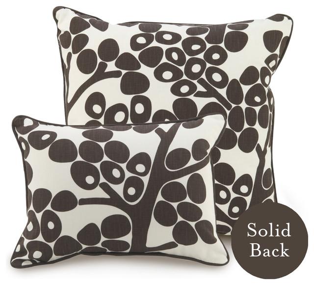 """18"""" x 18"""" Modern Berries Pillow, Brown contemporary-pillows"""