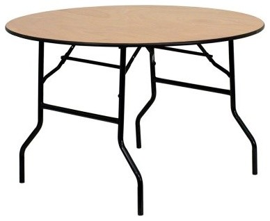 Round Folding Banquet Table with Clear Coated Finished Top - 48 in. modern-bar-tables