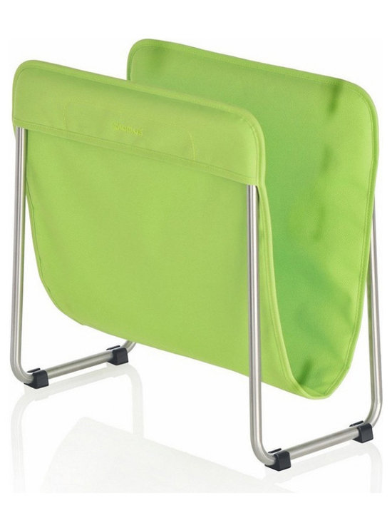 Blomus - Levio Magazine Rack - Green - The Blomus Levio Magazine Rack in Bright Colors is made with brushed, matte-finished stainless steel and synthetic fiber.