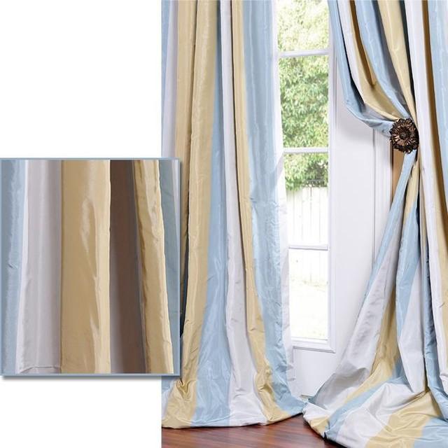 striped faux silk taffeta blue hemp tone curtain panel