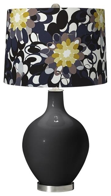 Contemporary Tricorn Black Black and Olive Ovo Table Lamp contemporary-table-lamps
