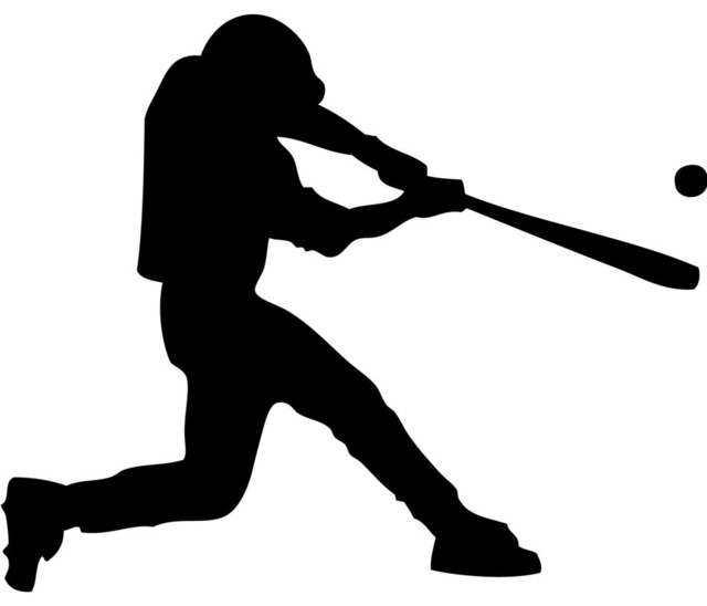 Swinging Baseball Player Wall Decal Modern Kids Wall