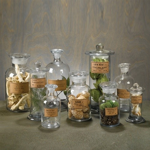 Set of 9 apothecary jars eclectic bathroom canisters for Bathroom apothecary jar ideas