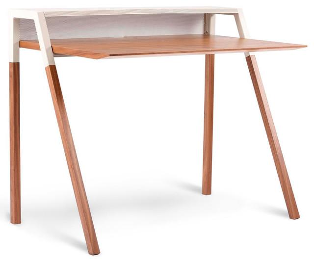 Blu Dot Cant Desk, Walnut / Grey modern-desks-and-hutches
