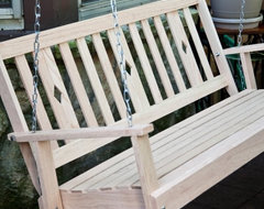 Beecham Swing Co. Diamondback Oak Porch Swing contemporary-kids-playsets-and-swing-sets