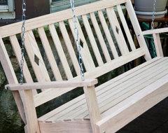 Beecham Swing Co. Diamondback Oak Porch Swing contemporary-outdoor-swingsets