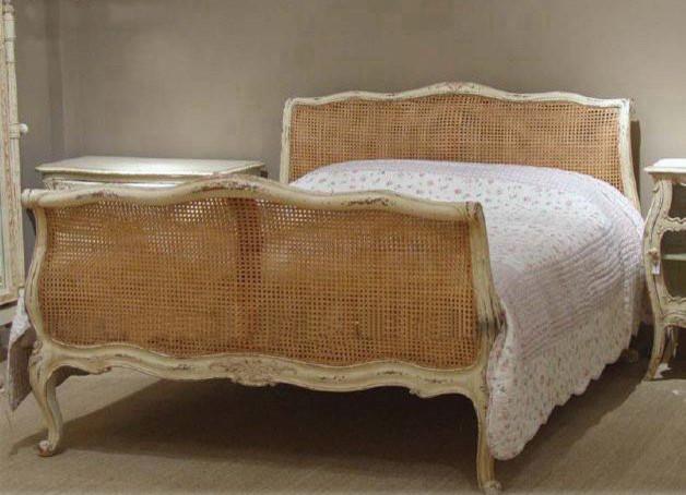 shabby chic cane bed. Black Bedroom Furniture Sets. Home Design Ideas