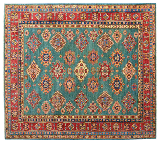 Teal High Quality Kazak 100 Wool Hand Knotted Oriental