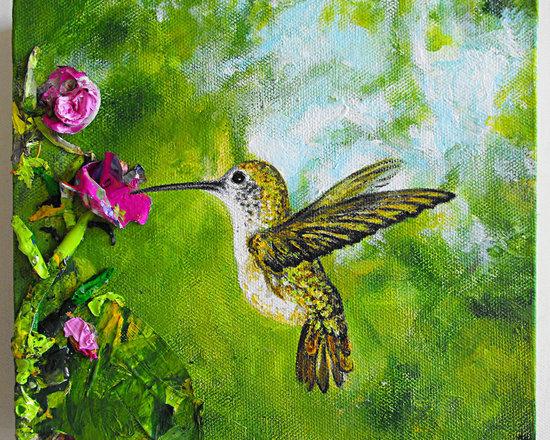 "Hummingbird's Green Escape - ""Hummingbird's Green Escape"" (part of the recycled bird series)"