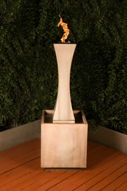 Fountain with Fire contemporary outdoor fountains