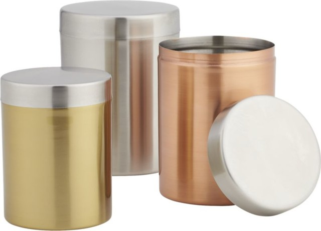 3 piece mixed metal canister set modern kitchen canisters and jars by cb2 - Modern tea and coffee canisters ...
