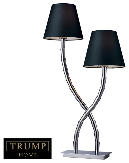 Park Avenue 2 Light Table Lamp In Chrome With Black Shade modern-table-lamps