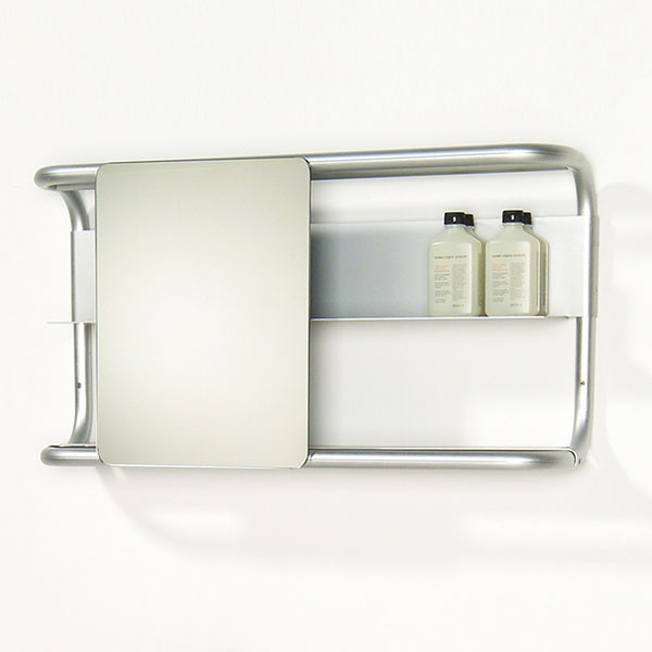Whitehaus Collection Aeri Shelves Square Sliding Bathroom Mirror, Alumi  bathroom mirrors
