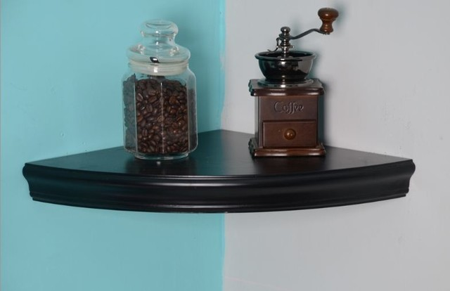 Black Corner Floating Shelves traditional-wall-shelves