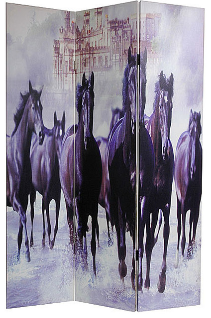 Canvas Double-Sided Horses Room Divider eclectic-screens-and-room-dividers