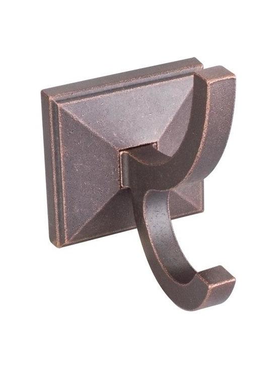 "Hardware Resources - Jeffrey Alexander Rustic Design Bath Hook - Dark Machined Antique Copper - Base Diameter - 2-5/8"", Projection - 4-1/4"", Length - 4-1/4"", Finish - Dark Machined Antique Copper"