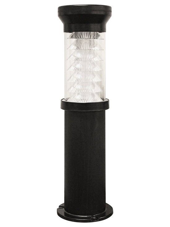 """Lamps Plus - Contemporary Bollard Black 26"""" High Solar Powered LED Outdoor Light - Ideal for landscape areas this modern black outdoor light is both stylish and functional. Solar powered with energy efficient LEDs this design turns on automatically at dusk so you can keep your home well lit during the night. Stays lit up to eight hours on a full charge. Solar powered outdoor light. Black finish. Turns on automatically at dusk. Includes nine Super Bright LEDs. Lights lasts up to 8 hours on full charge. Includes lithium-ion rechargeable battery pack. 26"""" high. 6 1/2"""" wide.  Solar powered outdoor light.  Black finish.  Turns on automatically at dusk.  Includes nine Super Bright LEDs.  Lights lasts up to 8 hours on full charge.  Includes lithium-ion rechargeable battery pack.  26"""" high.  6 1/2"""" wide."""