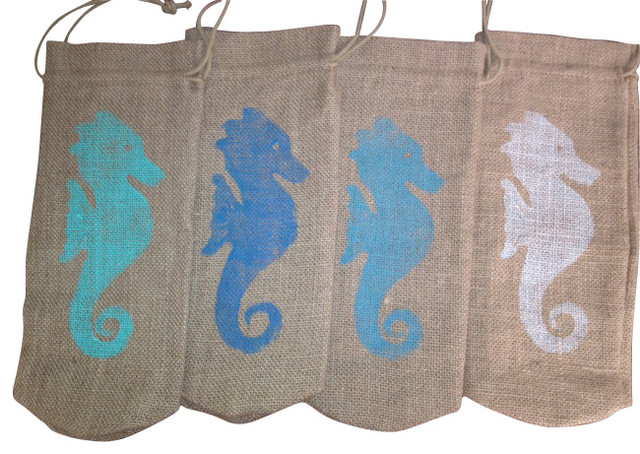 Burlap Wine Bag-Seahorse Design, Pacific Blue - beach style - by
