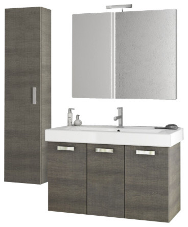 40 Inch Grey Oak Bathroom Vanity Set Contemporary