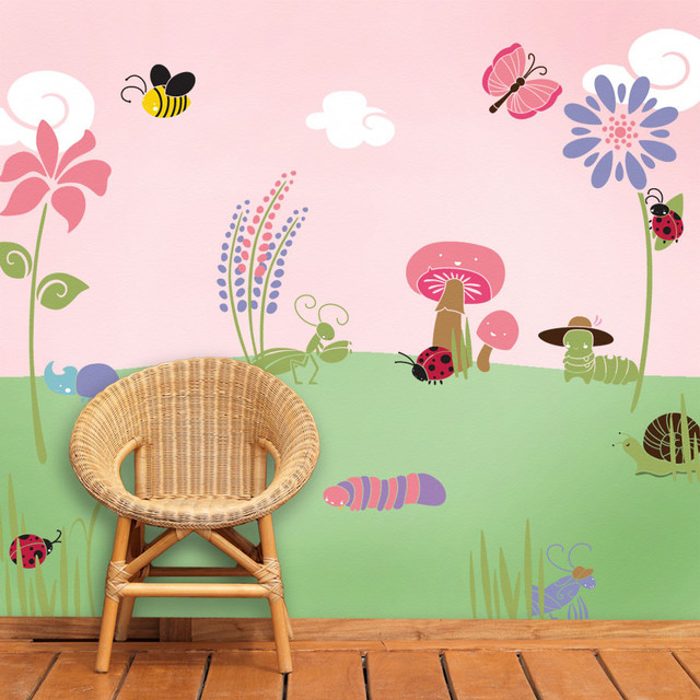 Wall Mural Stencil Kits Bugs And Blossoms Wall Mural Stencil Kit For  Painting