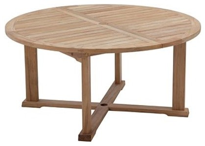 Bristol Round Brown Extending Outdoor Dining Table - Small, Patio Furniture traditional-dining-tables