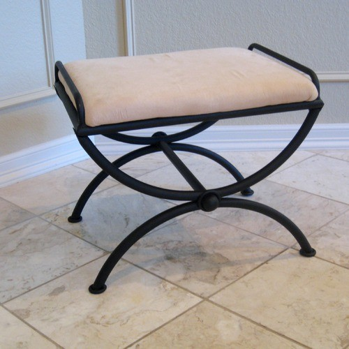 Contemporary Indoor Micro Suede Vanity Stool modern-footstools-and-ottomans