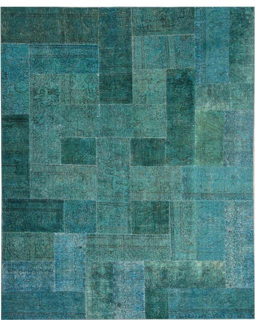 Handmade Turquoise/Green Oriental Patchwork Rug 8' X 9' 11
