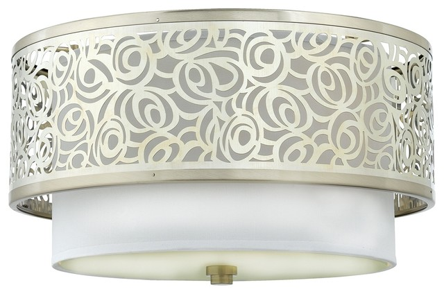 "Contemporary Josslyn Collection Nickel 15"" Wide Flushmount Ceiling Light contemporary-ceiling-lighting"