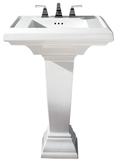 "Town Square 24"" Fireclay Pedestal Bathroom Sink with 8"" Centers in White contemporary-bathroom-sinks"