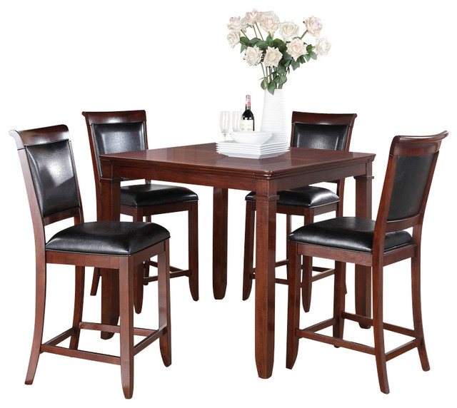 Standard furniture dallas 5 piece counter dining room set in medium brown cherry traditional Dining room furniture dallas